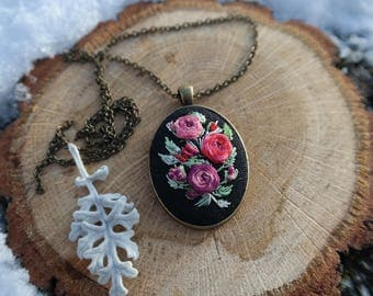 Embroidered pendant Red boho gift Wife red jewelry Floral Colorful necklace Mother gift Red rose necklace Beauty-gift Eco Ukrainian jewelry