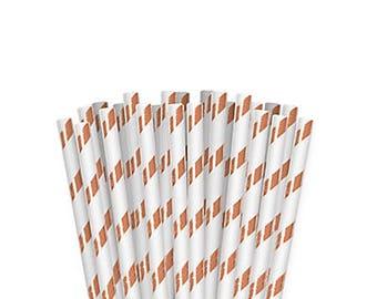 Rose Gold Paper Straws, Stripe Straws, Pailles en papier, Sorbetes de Papel, Party Supplies, Birthday, Wedding, Engagement, Bridal