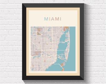 Miami Map, Miami Poster, Miami Print, Miami Street Map, Miami City Map, Miami Art, Miami, US Art, US Print, US Poster
