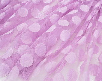 Soft tulle fabric purple pink woven polka dots x 1 meter