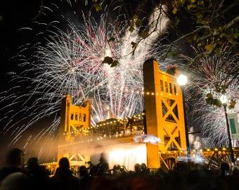 Sacramento California Tower Bridge Fireworks 2 (8X10 Print)