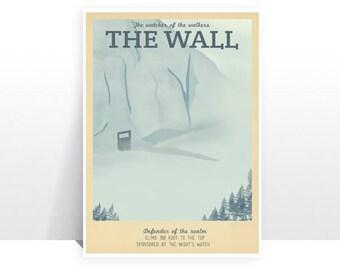 Retro Travel Poster - Game of Thrones - The Wall - MANY SIZES Modern Vintage Stark Lannister Jon Snow Tyrion Daenerys Typography Art Print