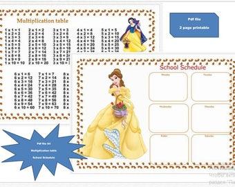 Periodic table print back to school printable pdfschool multiplication table 1 10disney printable table shedule lesons poster disney multiplication urtaz Gallery