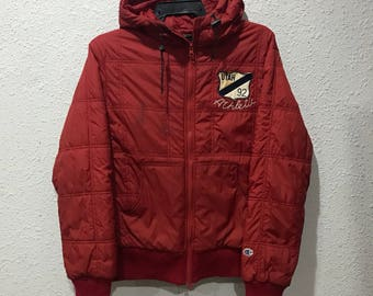 Rare!! Vintage Champion Athletic Puffer Jacket Mix Fabric Brilliant Red