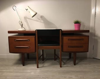 Mid Century Modern - Vintage 1960s G Plan Teak and Exotic Afromosia Desk with Floating Top