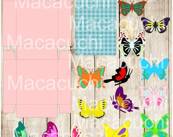 Box + 15 Designs of butterflies SVG, cut, print, silhouette