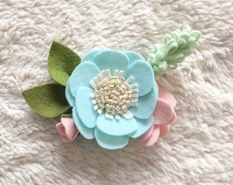 Large Blue Felt Floral Headband