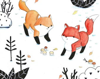 Foxes in the snow - Print