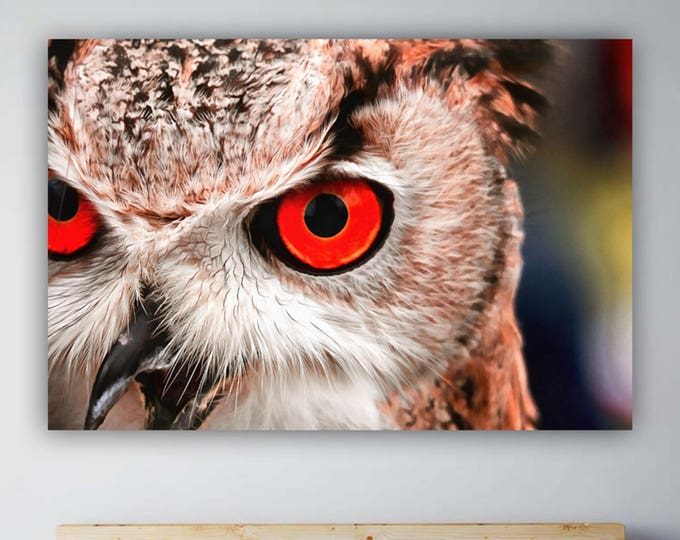 Horned owl with red eyes, animal, cute, canvas, Interior decor, bird canvas, room design, print poster, art picture, gift