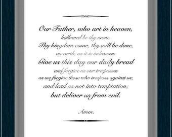 Our Father, Lord's Prayer, Christian Prayer Print, Religious Wall Art, Catholic Print, Confirmation Gift, Baptism Gift, Holy Gift