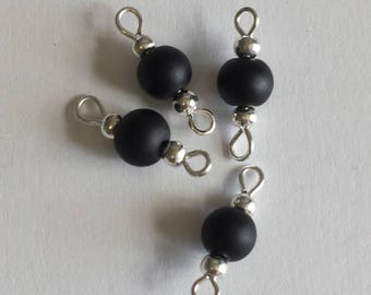 5 connectors 6mm frosted black glass beads