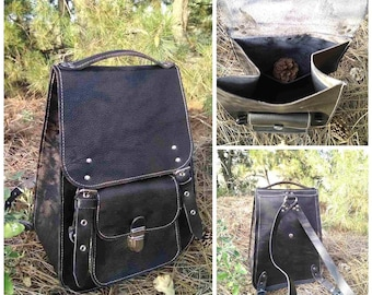 UNISEX   City canvas backpack thick leather black large durable Vintage  handmade