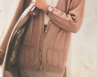 PDF Knit Seed-Stitch Striped Cardigan (EASY)