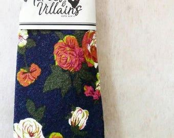 Navy blue floral tie, dapper ties, handmade ties, bow ties, skinny ties, groomsmen gift, rustic ties, wedding bow tie, suspenders, wool tie