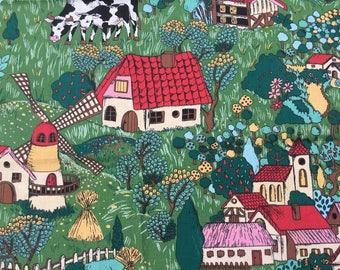 Material Off Cut - Kids Farm Design - Green Red Multicoloured size 44cm at narrowest rising to 72cm x 160cm