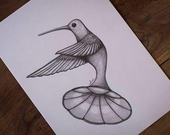 SKETCH GRAPHITE DRAWING on paper pop surrealism, lowbrow art, hummingbird, wings, gramophone, phonograph