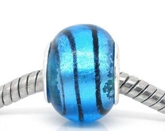 Lampwork glass Blue Bead black line clear