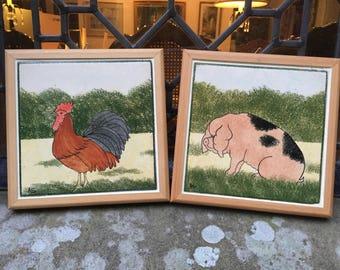 Two Country Tile Design Vintage Ceramic Tile Trivets