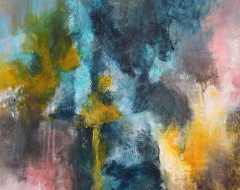 Acrylic paint with effects of material, abstract and modern