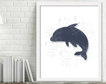 Printable Dolphin Wall Art, Kids Ocean Room Decor, Ocean Nursery Wall Art, Dolphin Print Digital Download Picture
