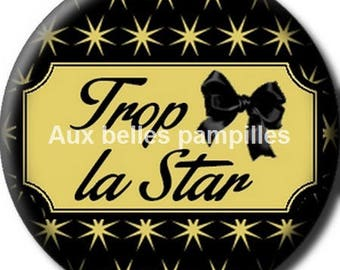 Round cabochon resin 25 mm - too star stick (1367) - text, fashion, fashion, gold