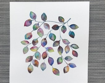 Bejeweled - Original Watercolor Painting, Rainbow Leaf Artwork, Nature Art, Jewel Toned Leaves, Home Decor, Colorful Art