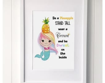 Mermaid 'Be a Pineapple' Print