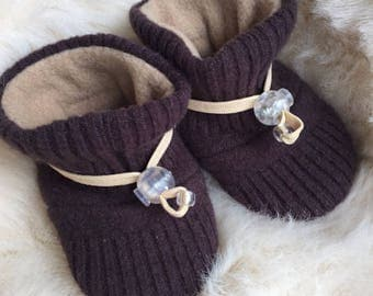 Brown Wool Slipper from Toggle Toes, non-slip soft sole shoe, infant size 4-12 months or baby shoe size 1-4