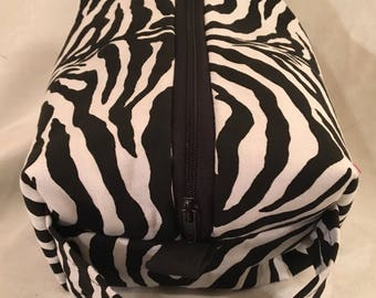 Zebra Print with Handle - Cosmetics Bag, Toiletries Bag, Travel Bag