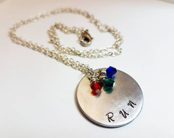 Stranger Things Jewelry Hand Stamped Metal Jewelry Geek RUN Necklace