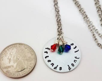 Stranger Things Jewelry Hand Stamped Metal Jewelry Geek RUN Necklace Friends Don't Lie Eleven 11 011