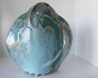 Beautiful Rare Christine Kluge Haberkorn Design Ceramic Vase, Signed Under The Bottom, West Germany 1970.