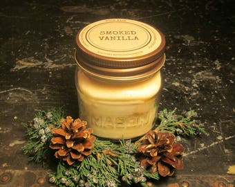 SMOKED VANILLA // Soy Candle // Wood Wick // Mason Jar // Vanilla Scent // Fall // Winter