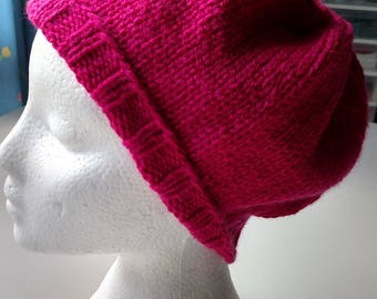 Pinky Knitted Slouchy Hat