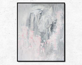 Original Abstract Painting, Abstract Canvas Wall Art, Gray Abstract Art, Light Modern Art, Pink Art, Canvas Art Painting, 16x20 Abstract Art