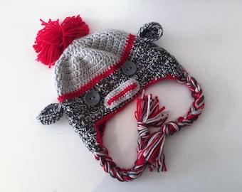 crochet Beanie: Monkey (crochet sock monkey hat)