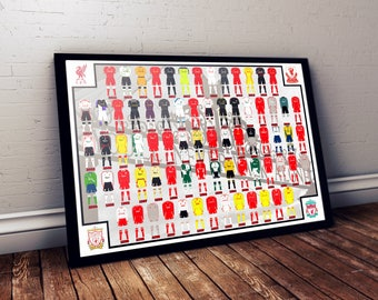 Liverpool History of Jerseys Digital Poster A3 Size