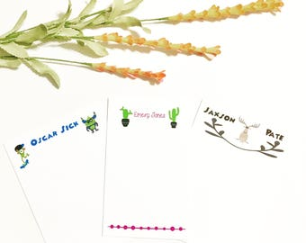 Kids Cactus Customized Stationary Sets, Custom Cardstock For Kids