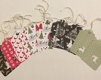 Lot of 10 Classic Handmade Punched Die-Cut Christmas Tags
