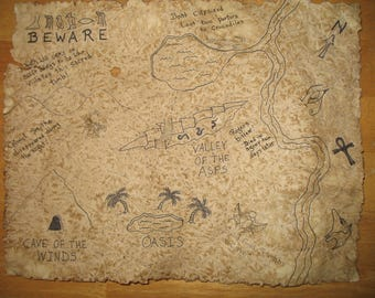 Hand Drawn Indiana Jones Style Adventure Treasure Map - Egyptian