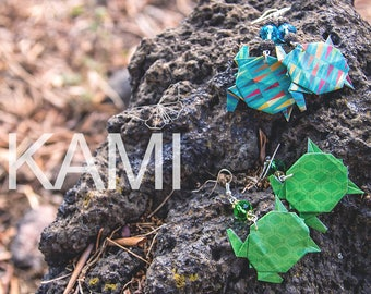 Earrings with origami turtles