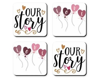 Valentine's Day, Our Story - Set of 4