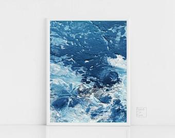 Ocean Print, Abstract Ocean Wall Art, Waves Wall Art, Blue Art, Blue Room Decor, Sea Wall Art, Beach House Wall Decor, Trendy Wall Art