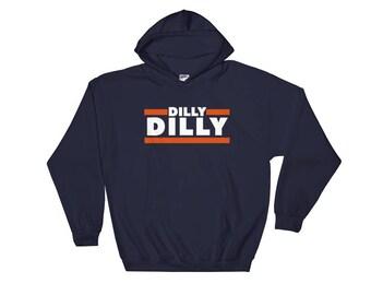 DILLY DILLY Chicago Bears Hoodie Custom Beer Drinking Navy Blue Hooded Sweatshirt