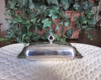 Vintage Silver Plate Covered Butter Dish With Glass Liner