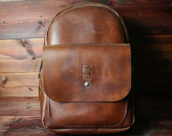Leather Backpack Leather backpack Woman backpack Ladies backpack Garage Women's daily pack Small backpack FREE PERSONALIZATION