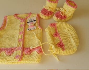 Clothing-Girls' Clothing-Clothing Sets-Coming Home Outfit-Newborn Outfit-Yellow Baby Outfit-Knit Baby Outfit-Baby girl outfit-Newborn gift