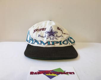Rare Vintage 1994 Super Bowl XXVIII Dallas Cowboys Back to Back Champions Logo 7 Snapback Hat