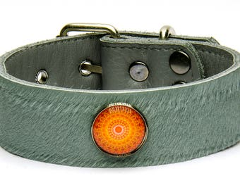 Handmade natural genuine leather dog collars with fur
