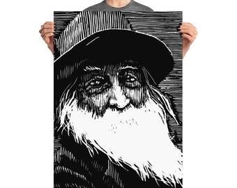 Walt Whitman, Leaves of Grass, Walt Whitman portrait, Woodblock print, Woodblock portrait, historical portrait, Whitman illustration, Linton